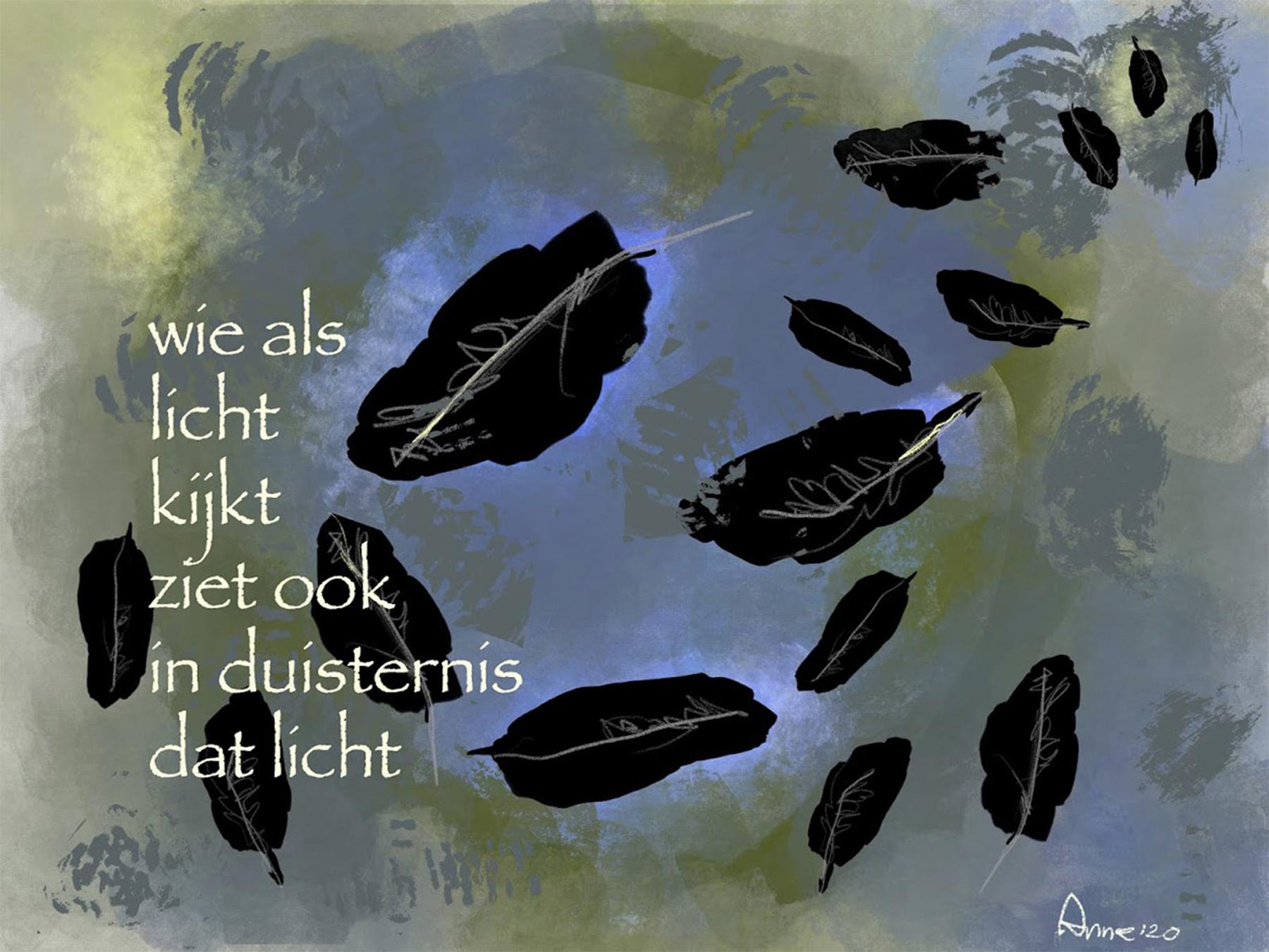 wie als licht kijkt ziet ook de in duisternis dat licht © Anne-Riet de Boer